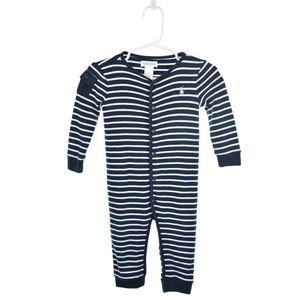 Ralph Lauren Blue & White Striped Cotton Onesie